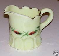 Custard Glass Creamer With Gold Flash Trim & Handpainted Roses